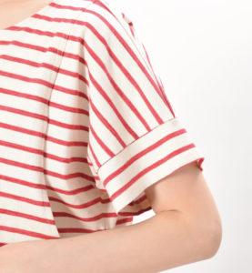 マーカーボーダーT サイドスリット ボーダートップス マタニティ兼用 綿100% レッド 袖の切り替えがおしゃれ