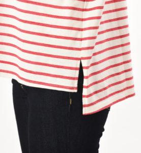 マーカーボーダーT サイドスリット ボーダートップス マタニティ兼用 綿100% レッド 裾のスリット