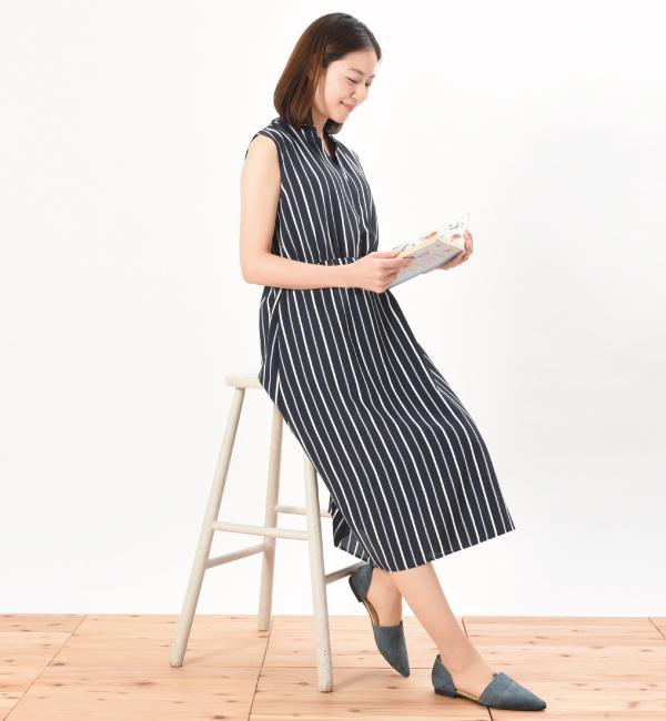クーランデール 授乳服 ワンピース カシュクール マタニティ兼用 ネイビー