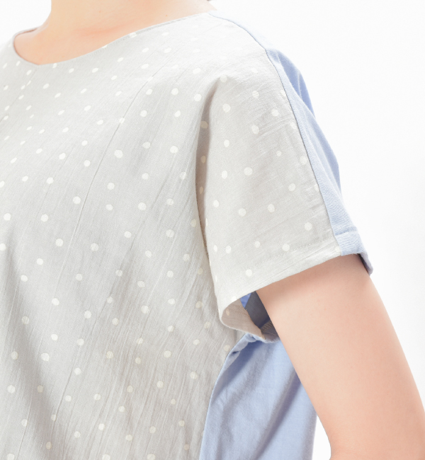 ポツリ グレー ネイビー 授乳服 センターオープン 綿100 ドット