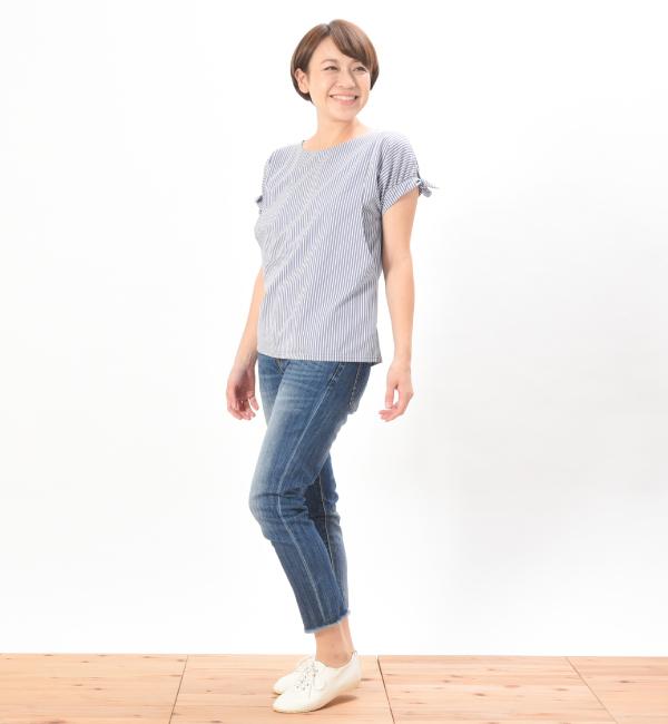 授乳服 サイドスリット ストライプ リボン トップス 半袖
