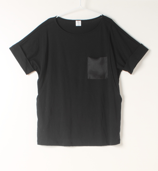 授乳服 Tシャツ ポケット 授乳 サテン ラベンダー グリーン ネイビー ブラック