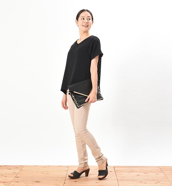 シードルドット ネイビー ブラック サイドスリット 授乳服 バックドットプリント
