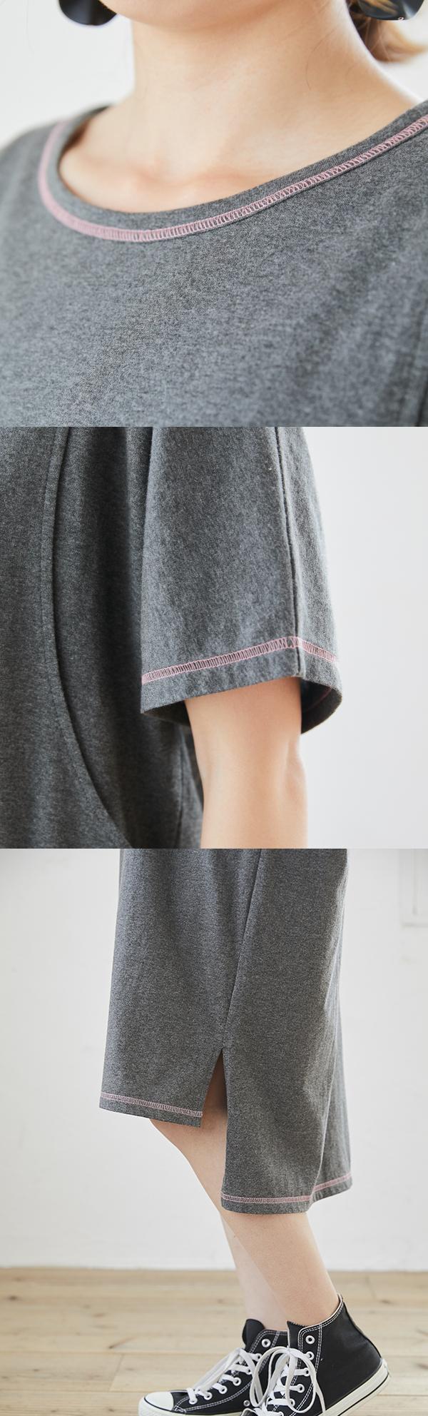 カラーステッチTシャツワンピース ボルドー カーキ グレー ブラック サイドスリット 授乳服 授乳 ワンピース ステッチ