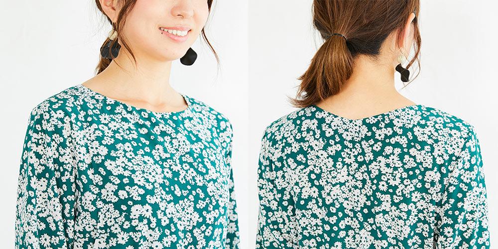 授乳服、授乳、サイドスリット、フラワープリント、ワンピース、長袖、マタニティ兼用