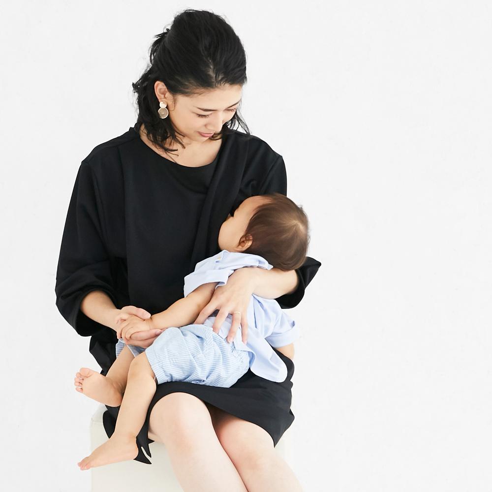 授乳服 授乳 サイドスリット ワンピース 卒入園 フォーマル 七五三  ブラック ネイビー