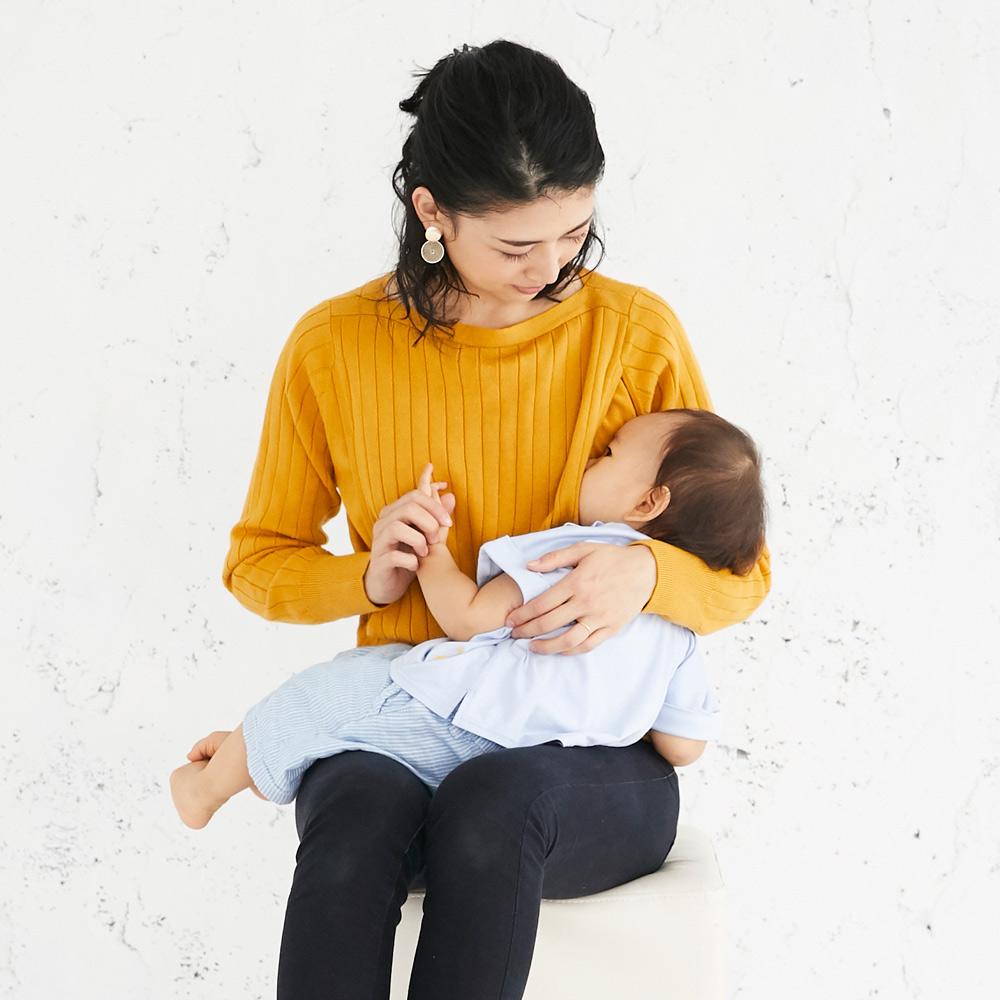 ニット 授乳 母乳 サイドスリット リブ サイズ 産後 長袖