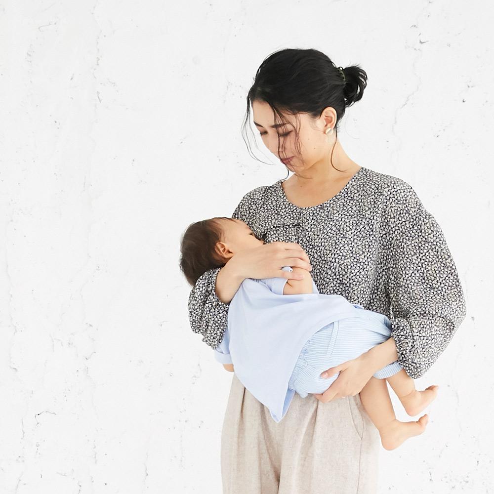 授乳服 授乳 母乳 長袖 センターオープンタイプ 花柄 ギャザー グリーン ネイビー