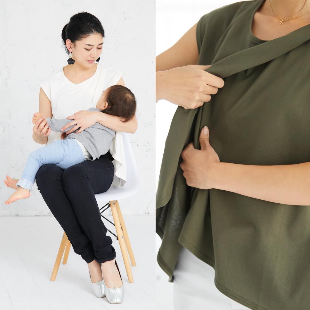 授乳服 サイドスリット フレンチスリーブ トップス 授乳 母乳 夏 イージーケア