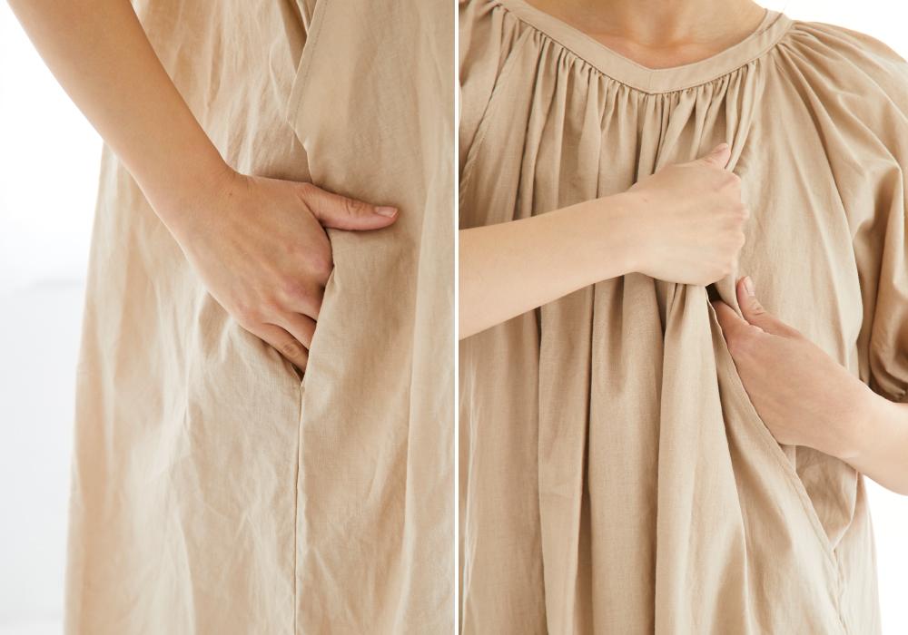 授乳服 サイドスリット 授乳 母乳 ワンピース 夏 コットンリネン 半袖 ギャザー