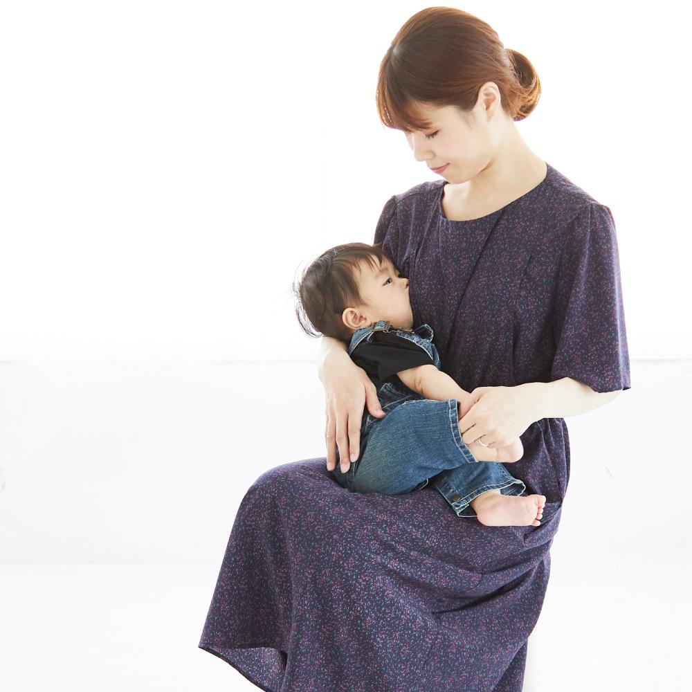 授乳服、授乳、ワンピース、フラワープリント、ウエストギャザー マタニティ、産前、産後