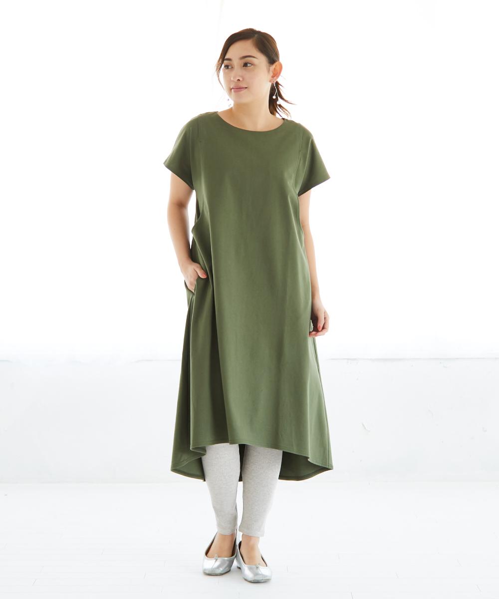 授乳服 サイドスリット コットン100% 半袖 ワンピース、カーキ、ネイビー