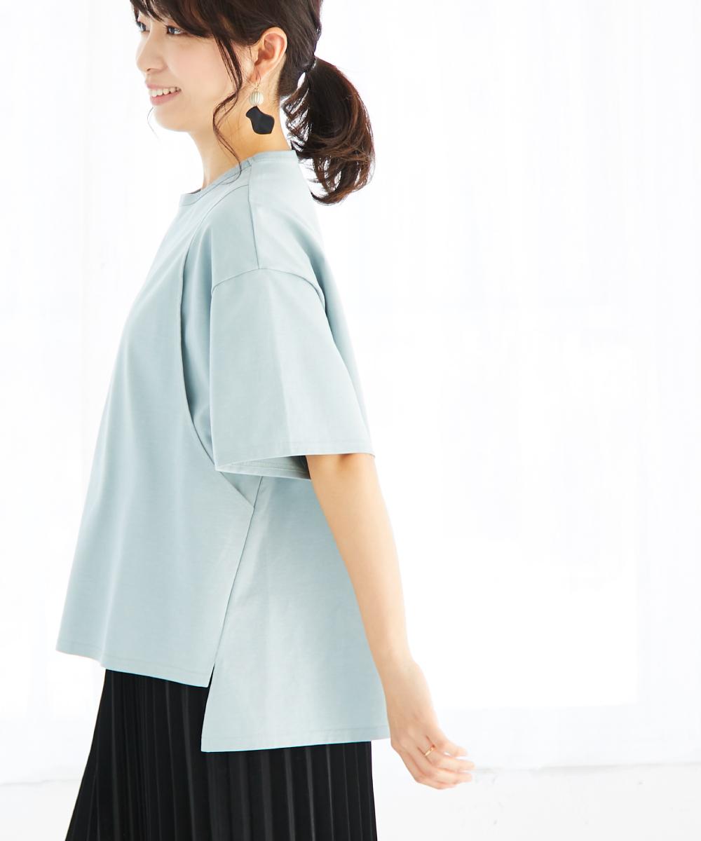 授乳服 サイドスリット Tシャツ コットン100% 光沢 ブラウン チャコール ブルー