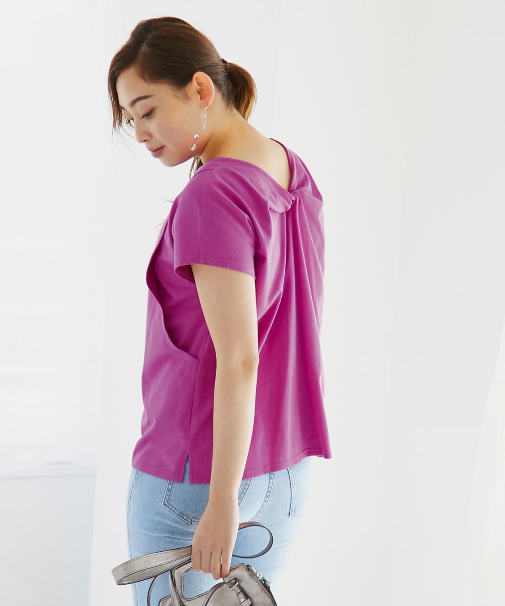 授乳服 授乳 半袖 カットソー 夏 バックデザイン ピンク ライトベージュ