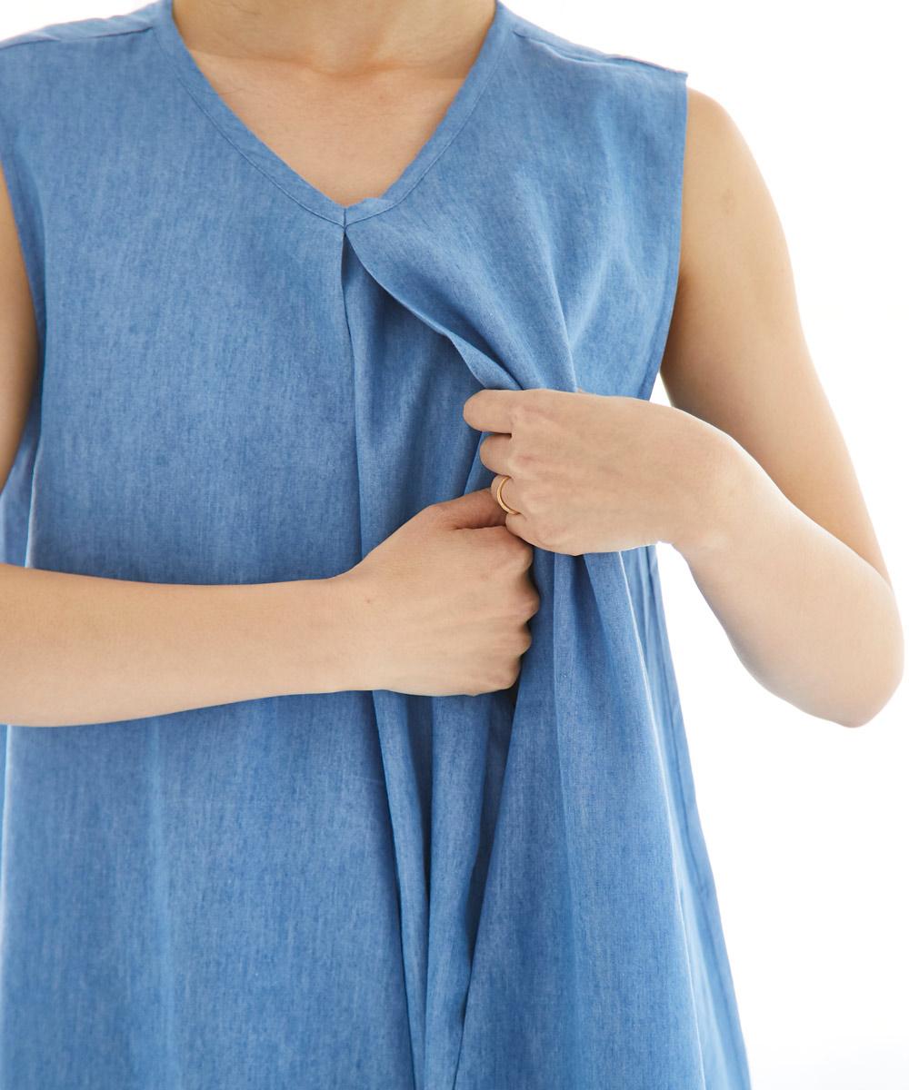 授乳服 ワンピース ノースリーブ デニム センタオープン 軽やか すずしい