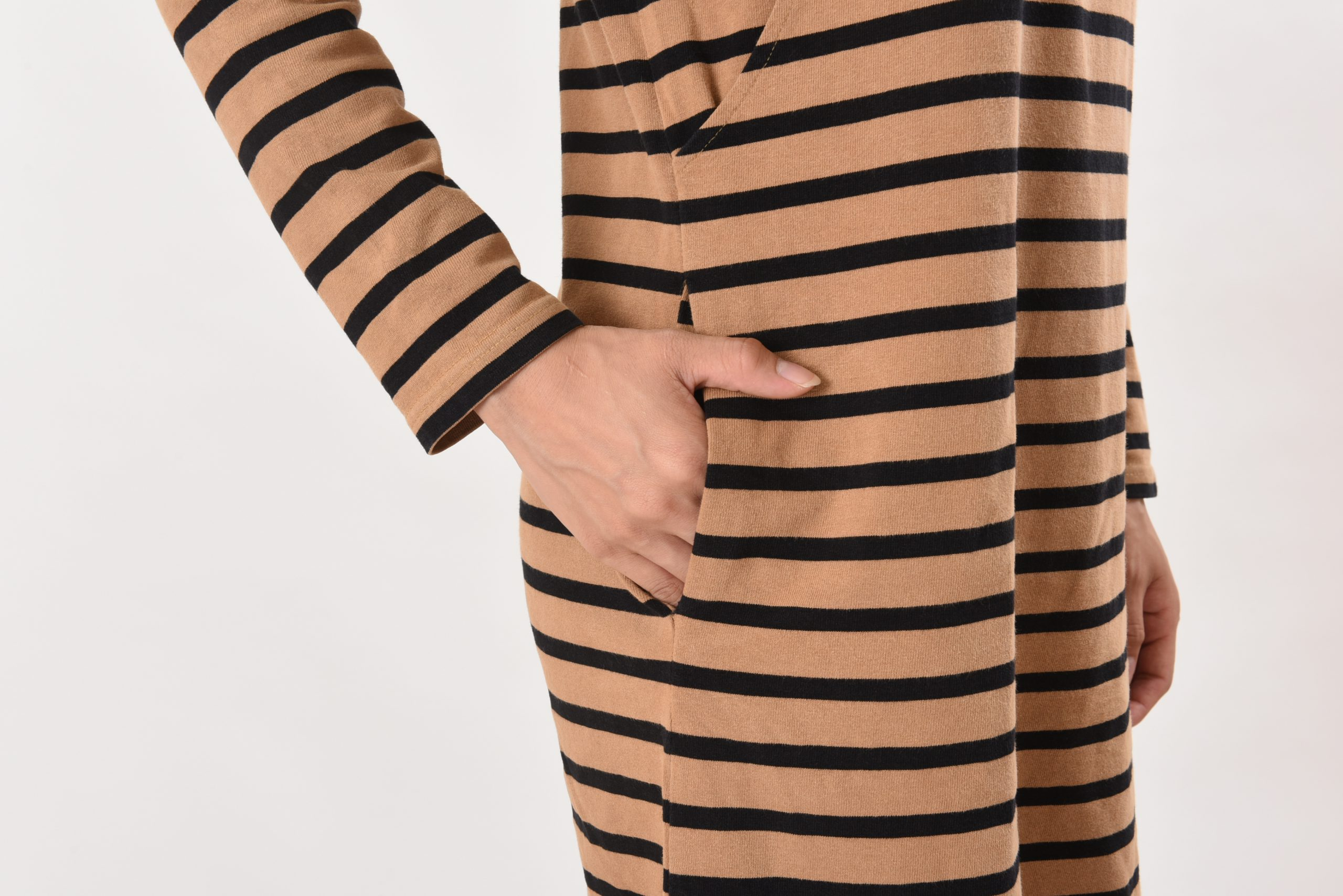 授乳服 授乳 母乳 長袖 サイドスリット、ボーダー コットン100