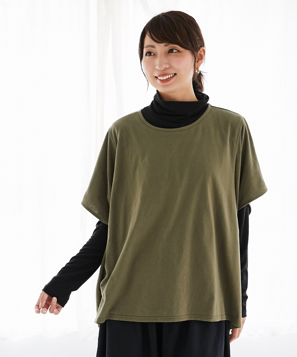 授乳服、授乳 半袖 サイドスリット、半袖、夏、秋 コットン
