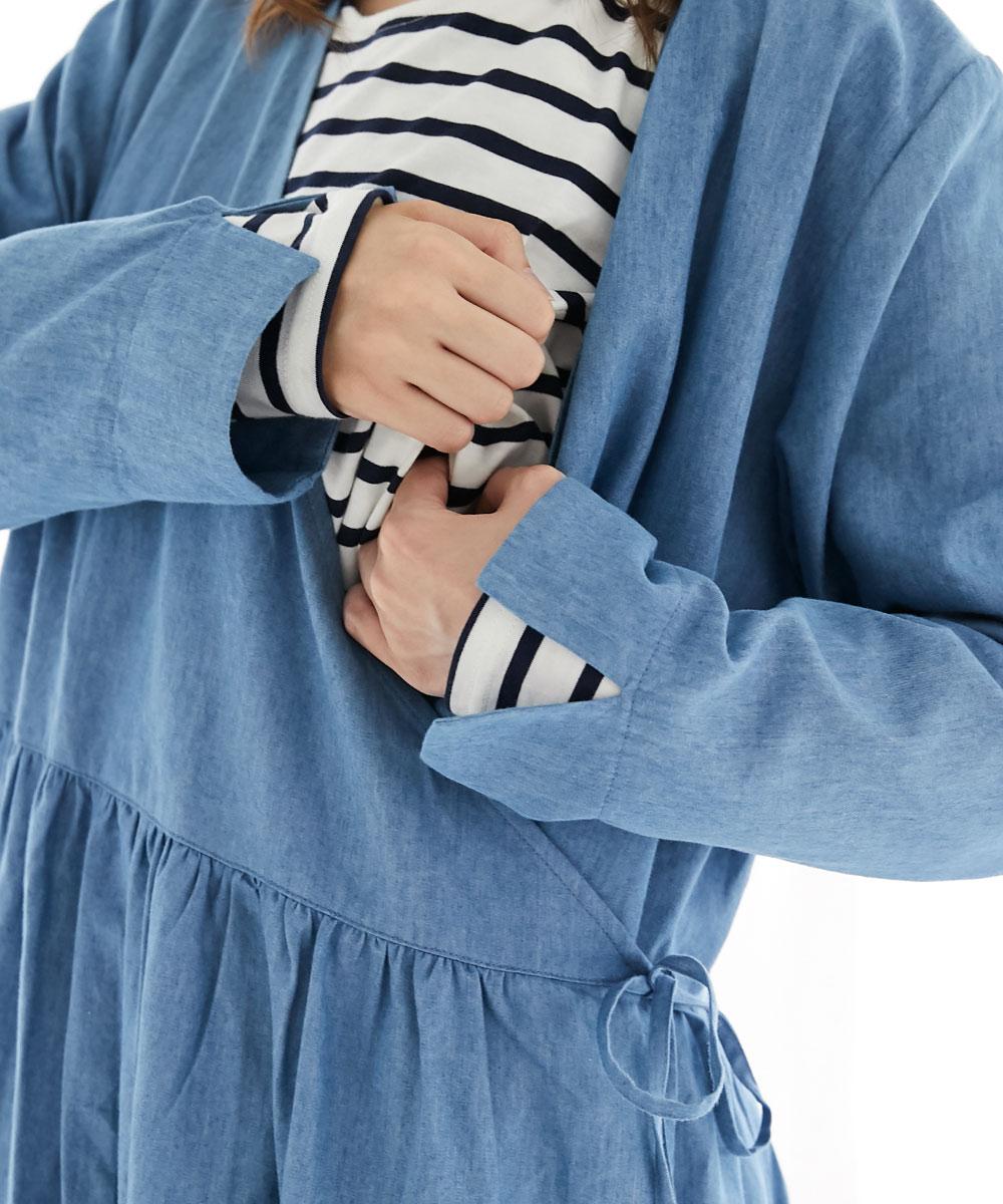 授乳服 授乳、母乳育児、ワンピース、カシュクール、ボーダー、セット ライトデニム