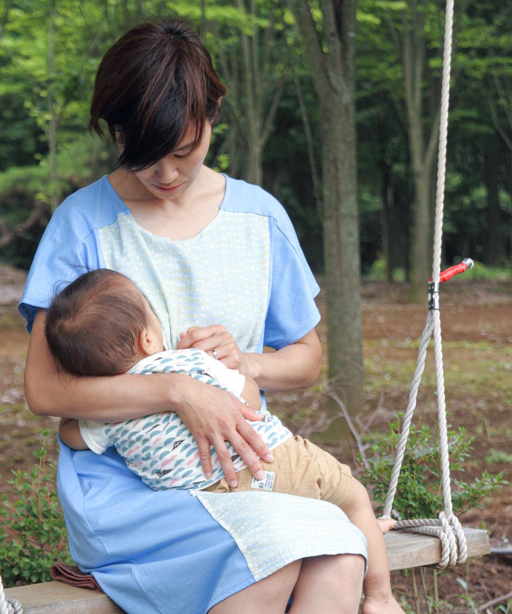 授乳服 授乳、母乳育児、サイドスリット、ワンピース、ひびのこづえ、オールシーズン、プリント