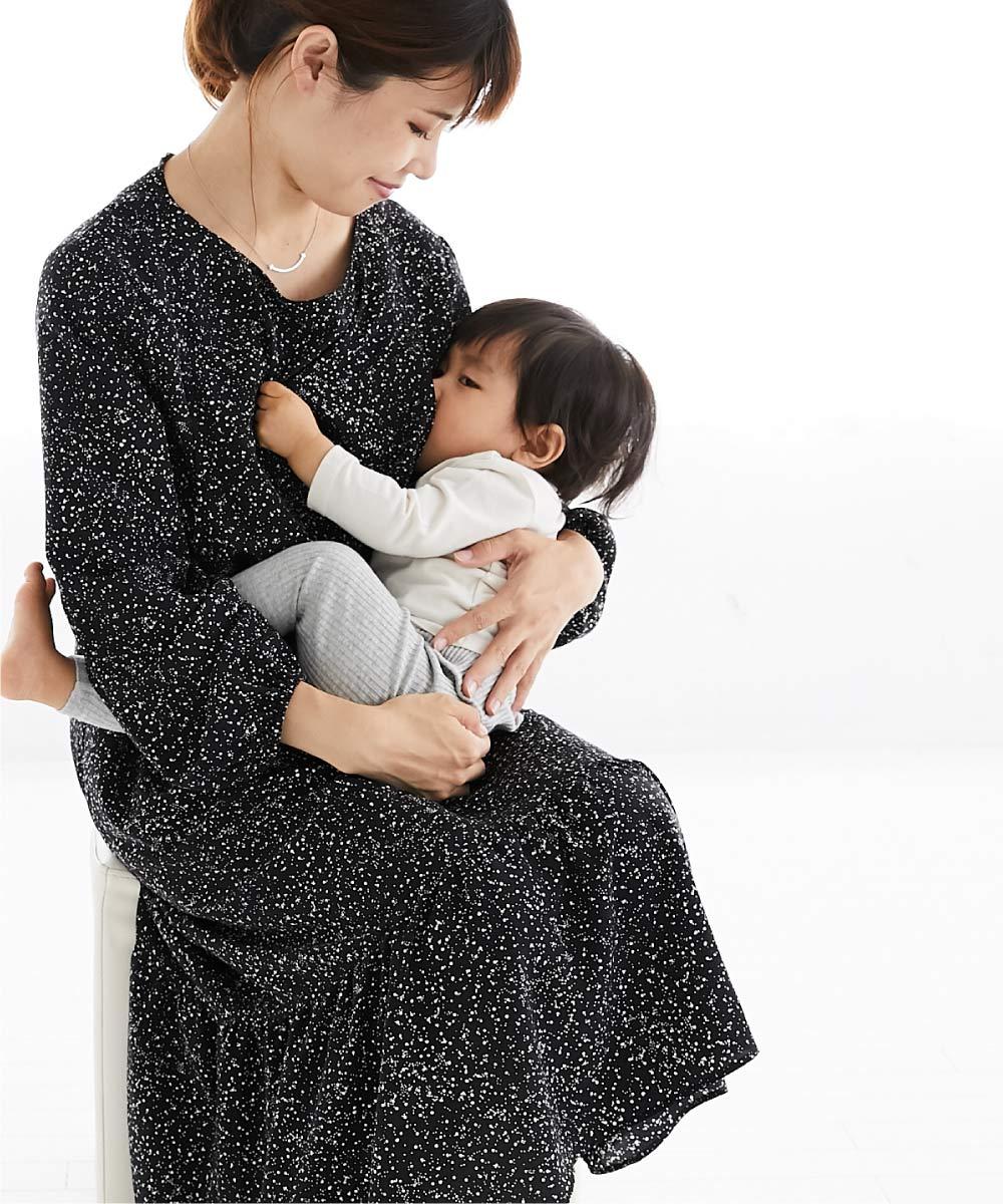 授乳服、授乳、サイドスリット、マタニティ、母乳育児、長袖、ワンピース