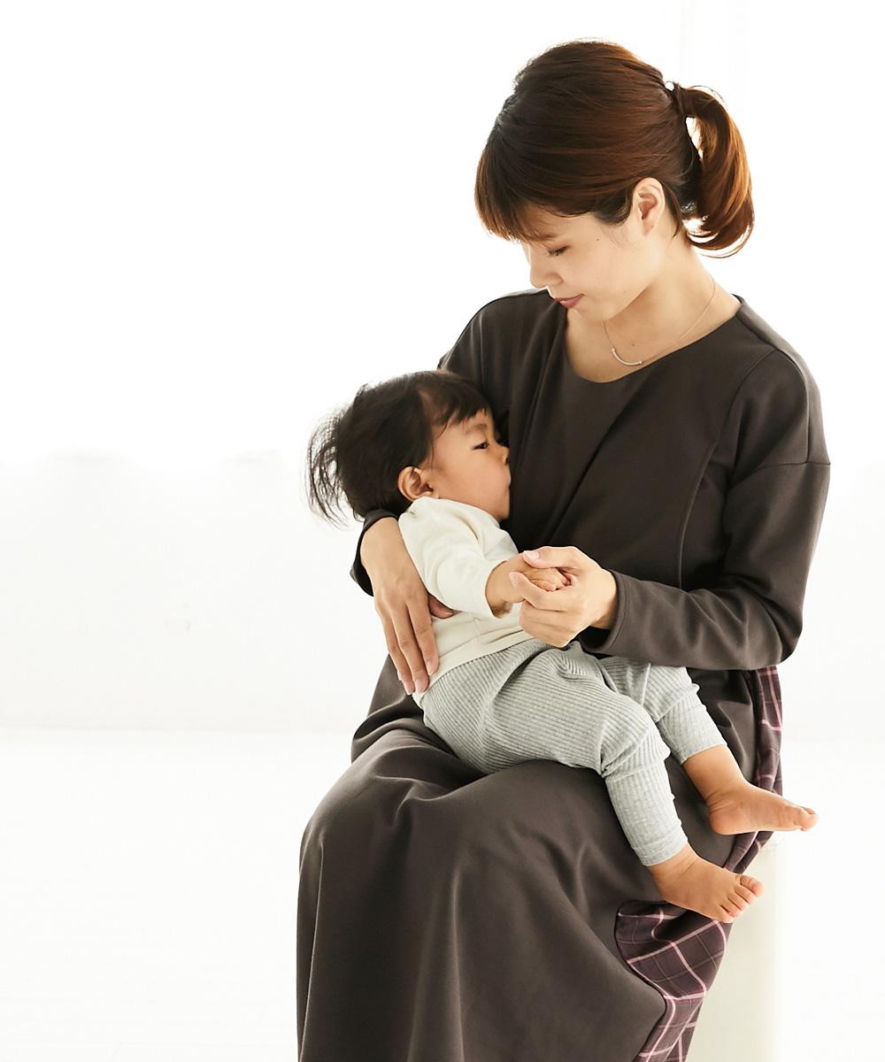 授乳服 授乳 ワンピース バックチェックフレアーワンピース チェック サイドスリット 授乳口