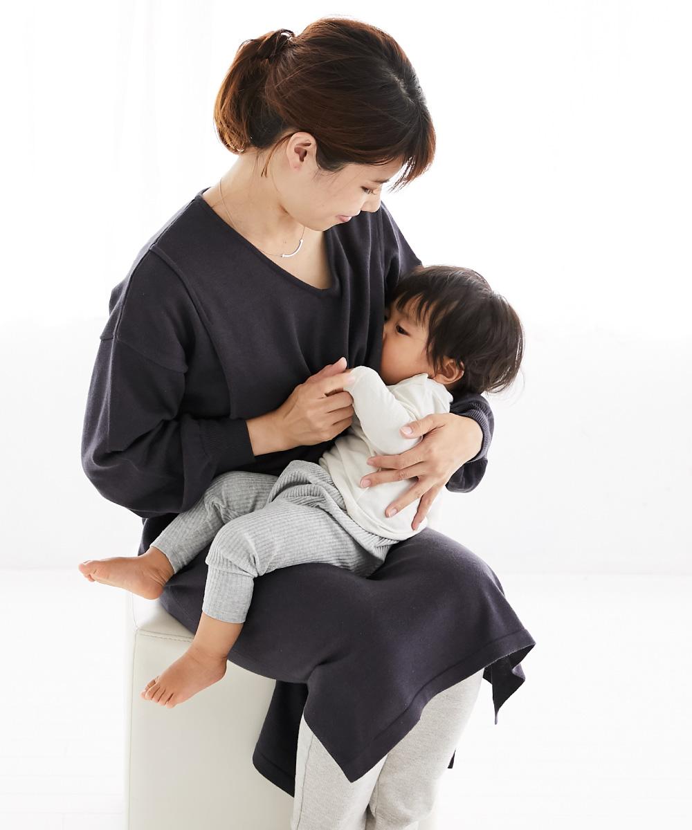 授乳服 ワンピース ニット 授乳口 サイドスリット、スヌード 秋冬 授乳 母乳
