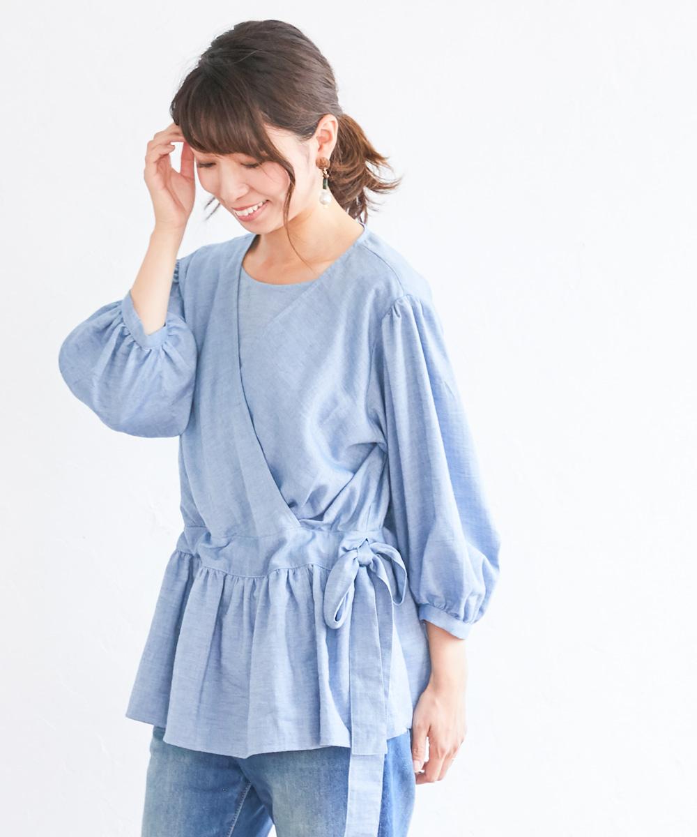 授乳服  ブラウス オーガニックコットン カシュクール 授乳 トップス 長袖