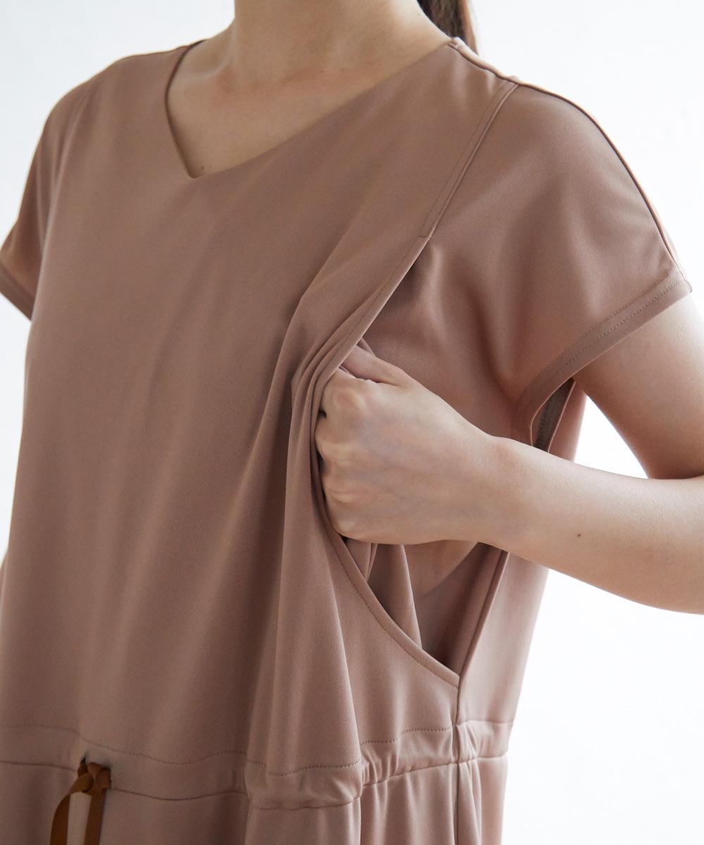 授乳服 授乳 サイドスリット ワンピース 半袖 ウエストリボン スムース素材 行事 お出かけ