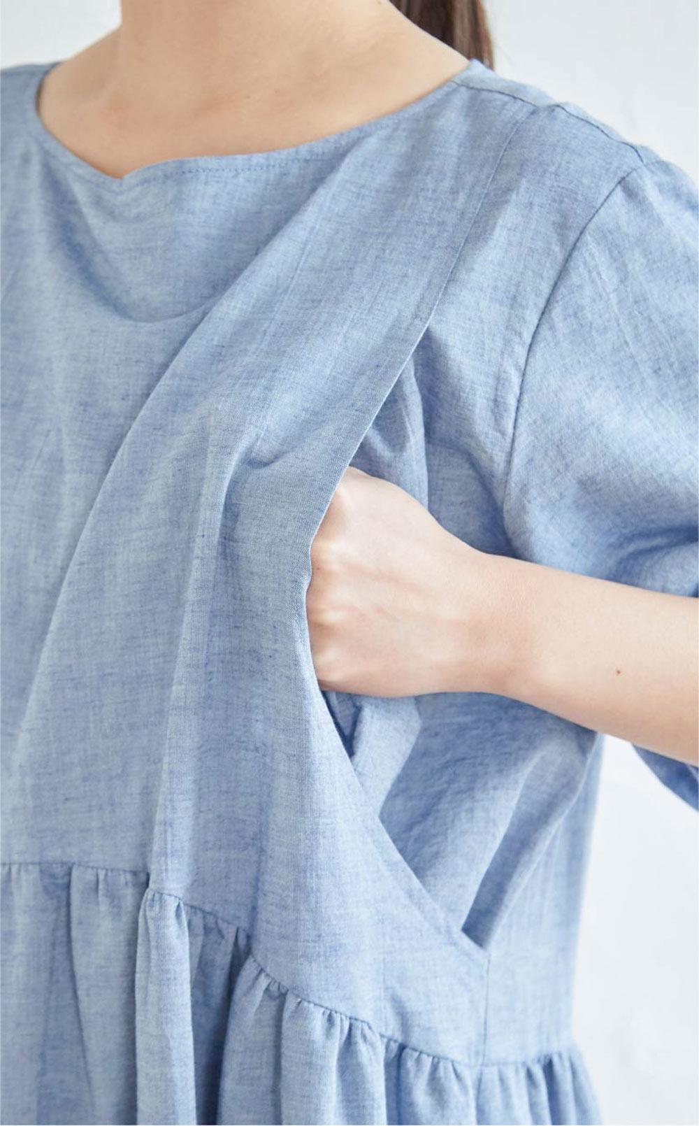 授乳服 授乳 ワンピース 半袖  サイドスリット オーガニックコットン100