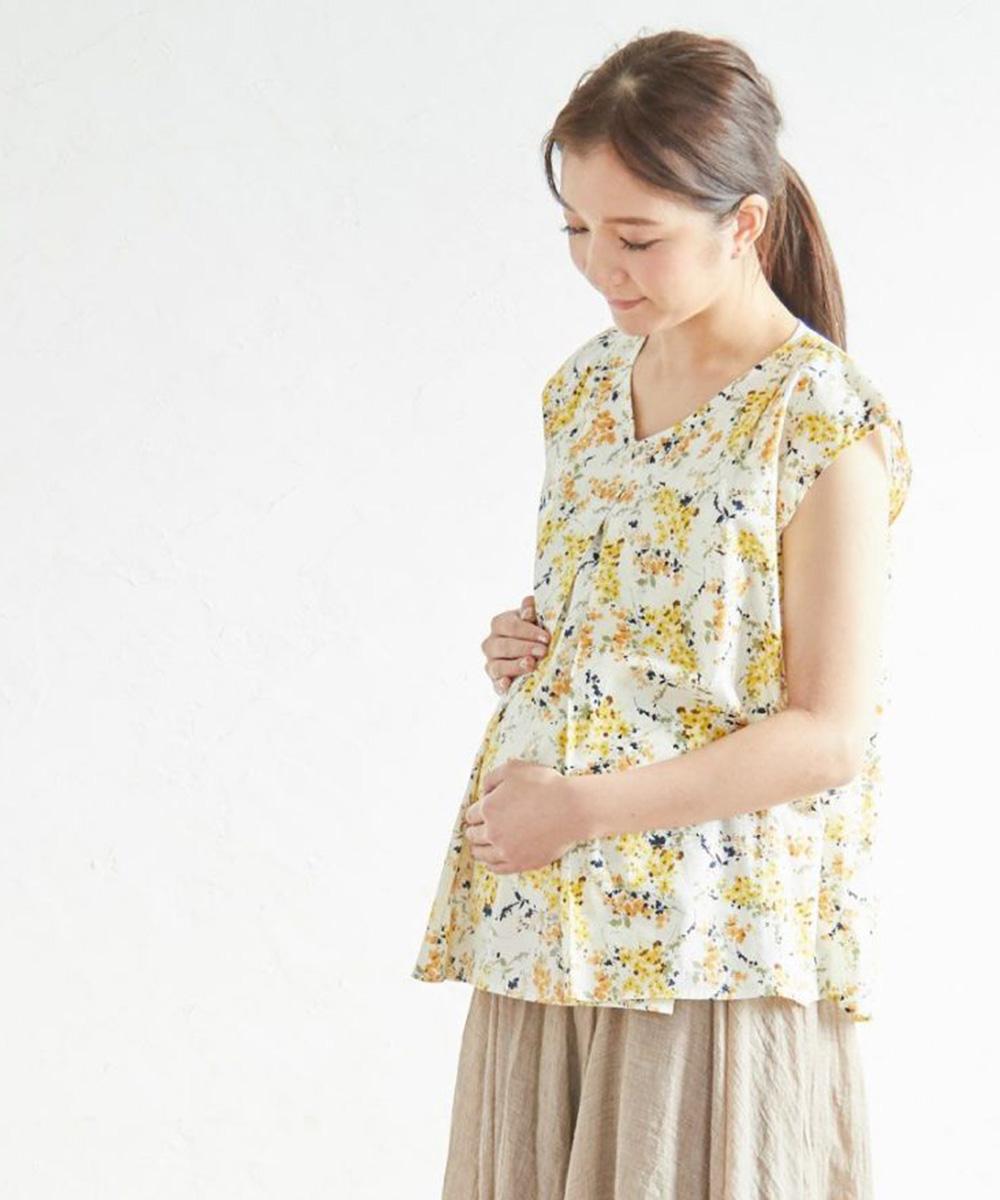 授乳服 授乳 トップス  半袖 プリント フラワー センターオープンタイプ タンデム授乳