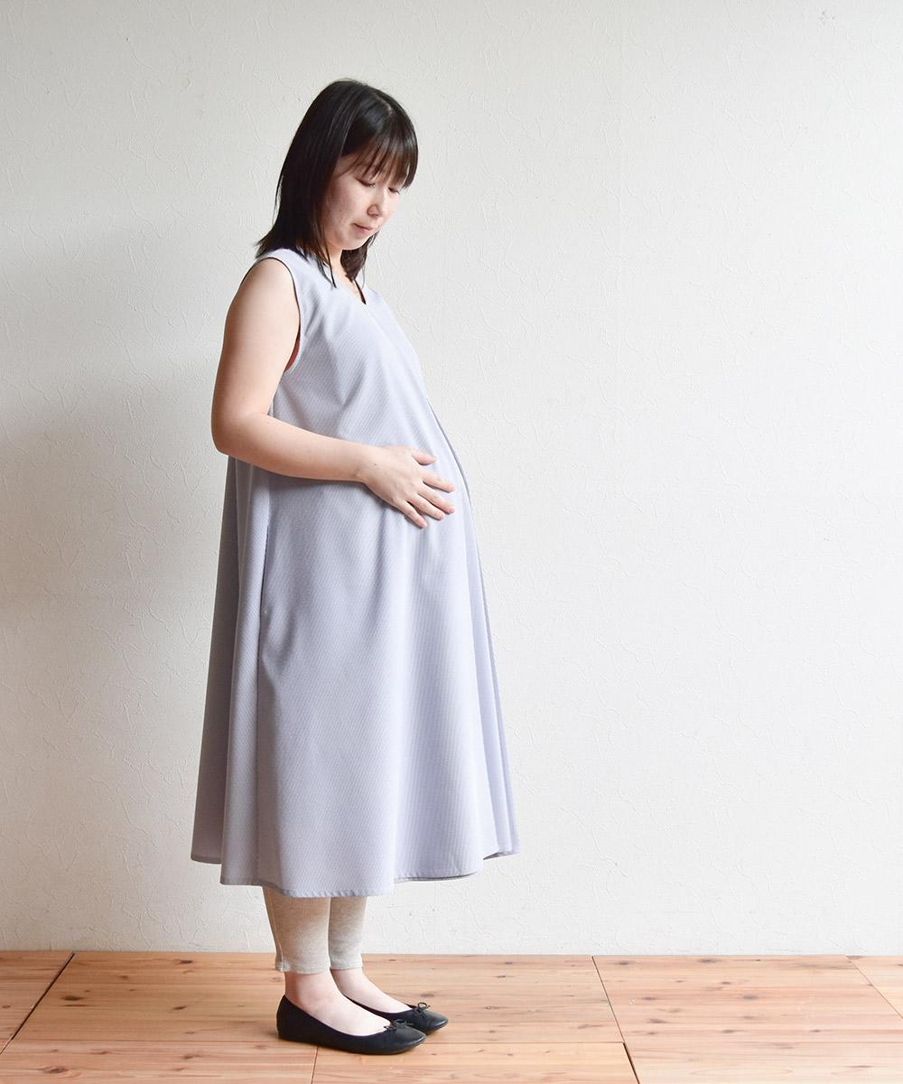 授乳服 授乳 ワンピース マタニティ 産後 産前 ノースリーブ センターオープン ストライプ