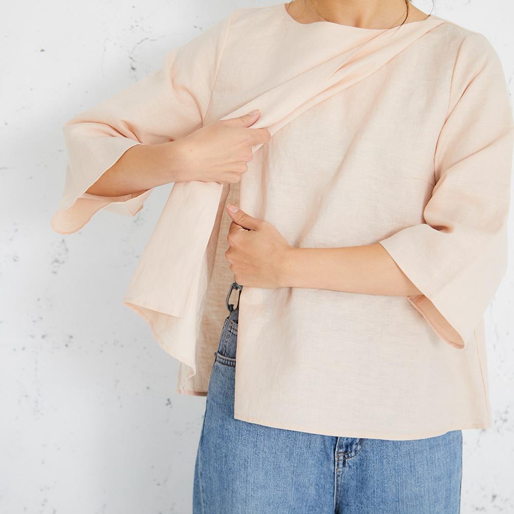 授乳服 授乳 トップス コットンリネン マタニティ 産前産後 レイヤータイプ 7分袖